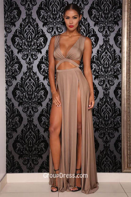 d6531696e2 Sexy Slit V Neckline Sleeveless A-line Long Prom Dress with Keyhole Detail